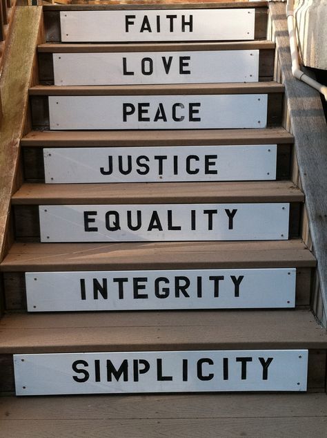 Steps showing Quaker Testimonies - Faith, Love, Peace, Justice, Equality, Integrity, and Simplicity