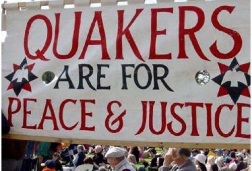 Banner reading Quakers are for Peace and Justice